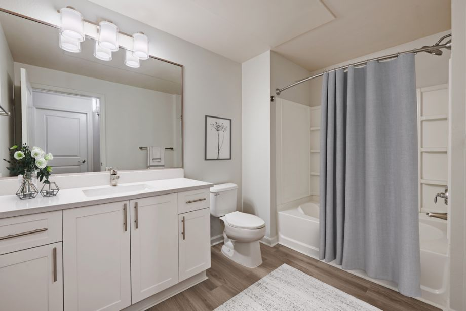 Bathroom with modern finishes at Camden Belleview Station Apartments in Denver, CO