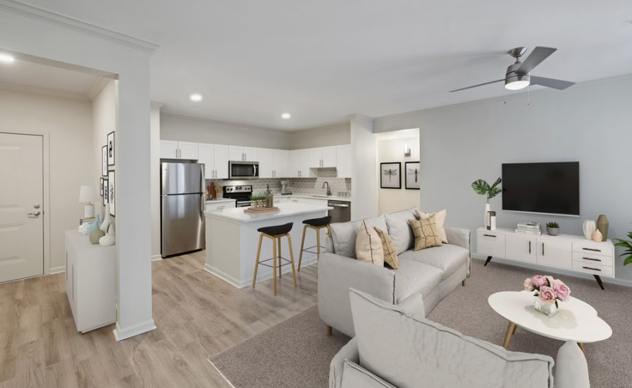 Open Concept Style Living with modern finishes at Camden Belleview Station Apartments in Denver, CO