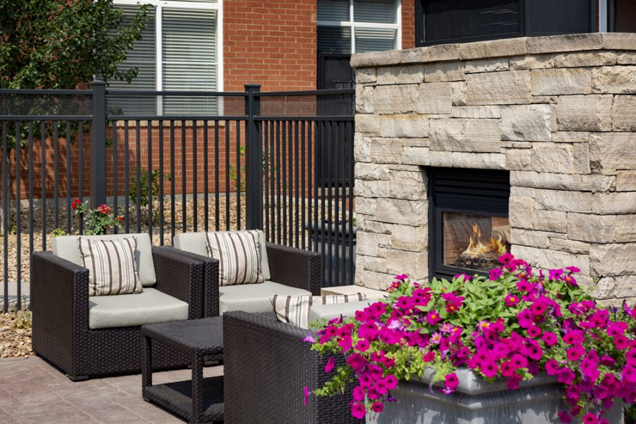 Pool Fireplace at Camden Belleview Station Apartments in Denver, CO