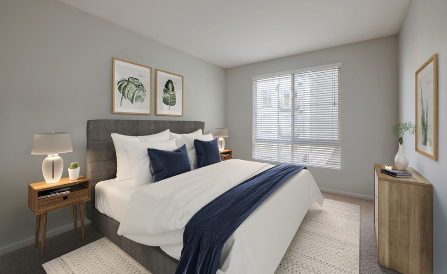 Bedroom with modern finishes at Camden Belleview Station Apartments in Denver, CO