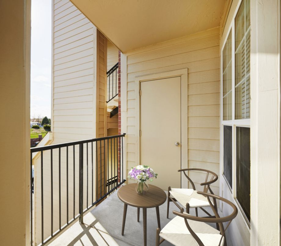 Private Balcony with View at Camden Caley Apartments in Englewood, CO