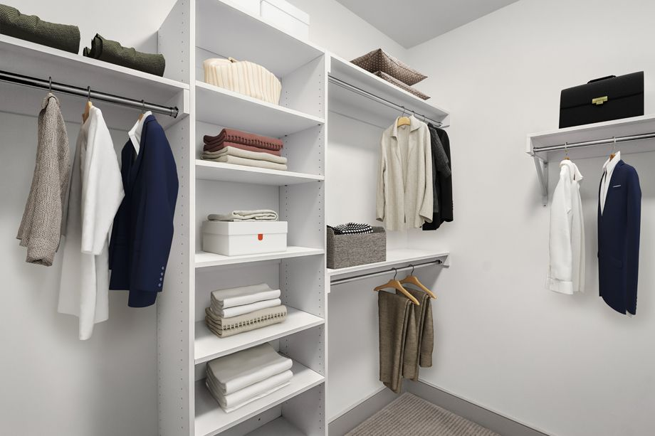 Closet with gray finishes at Camden Carolinian in Raleigh North Carolina