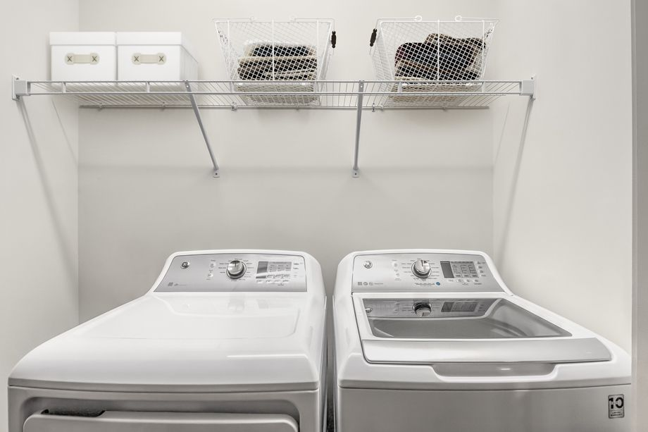 Laundry Room with Full-Size Washer and Dryer at Camden Carolinian in Raleigh North Carolina
