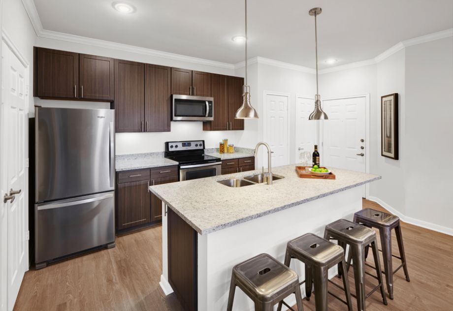 Kitchen with Stainless Steel Appliances at Camden Cedar Hills Apartments in Austin, TX