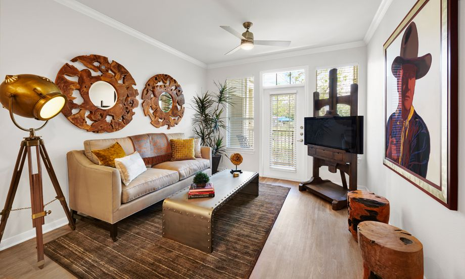 Living Room at Camden Cedar Hills Apartments in Austin, TX
