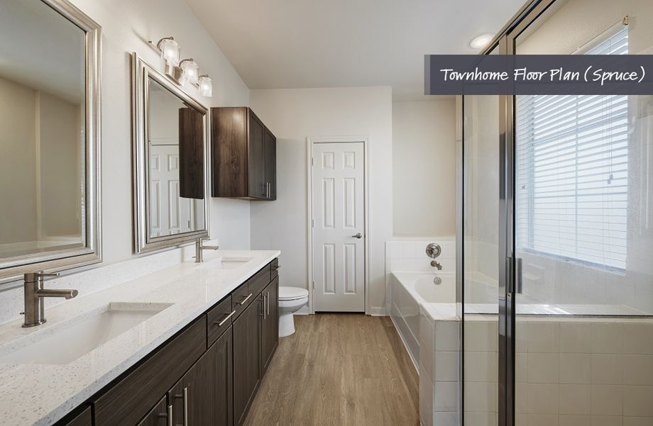Townhome Bathroom with Separate Bath Tub and Shower at Camden Cedar Hills Apartments in Austin, TX