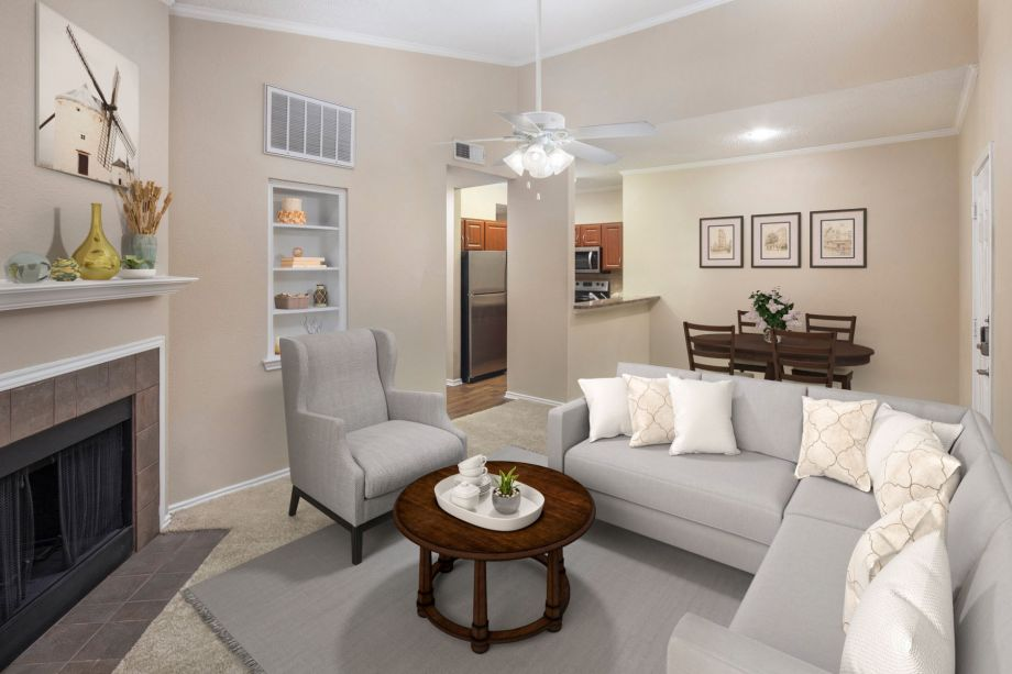 Top Floor Living Room at Camden Cimarron Apartments in Irving, TX
