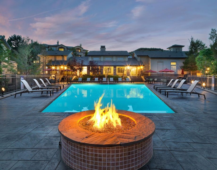 Outdoor Lounge with Firepit at Camden Denver West Apartments in Golden, CO