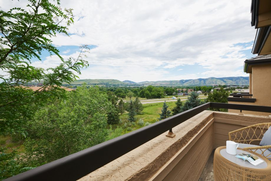 Balcony with Mountain Views at Camden Denver West Apartments in Golden, CO