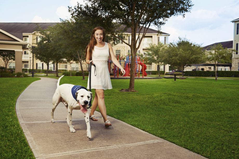 Pet-Friendly Walking Trails and Playground at Camden Downs at Cinco Ranch Apartments in Katy, TX