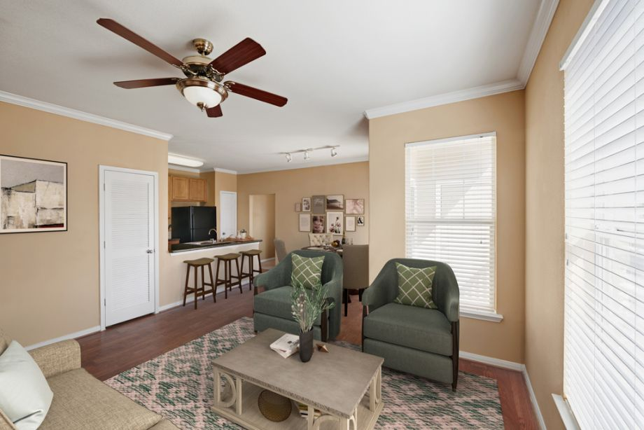 Living Room at Camden Downs at Cinco Ranch Apartments in Katy, TX