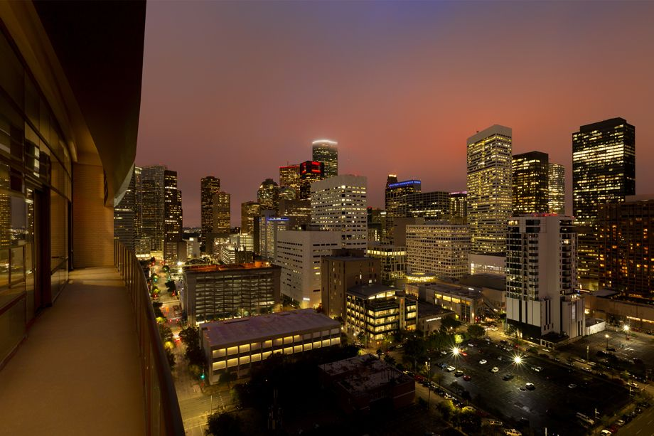 Balcony skyline views at Camden Downtown Houston apartments in Houston, Texas