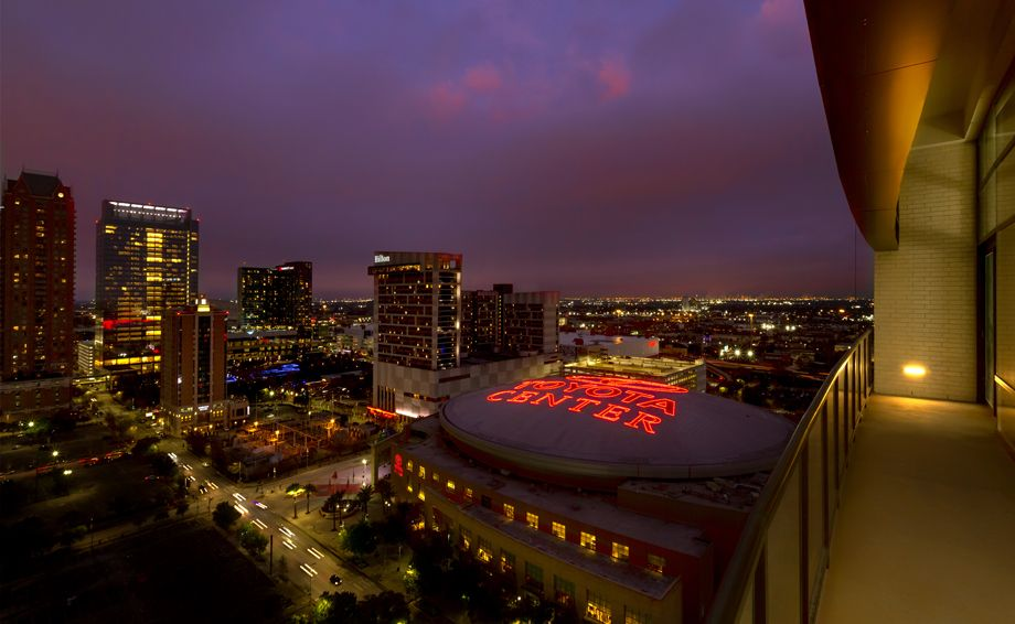 Balcony views of Toyota Center at Camden Downtown Houston apartments in Houston, Texas