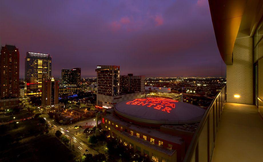 Balcony views of Toyota Center at Camden Downtown Houston apartments in Houston, Texas