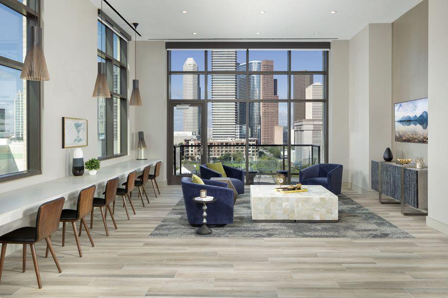 Media lounge at Camden Downtown Houston apartments in Houston, Texas