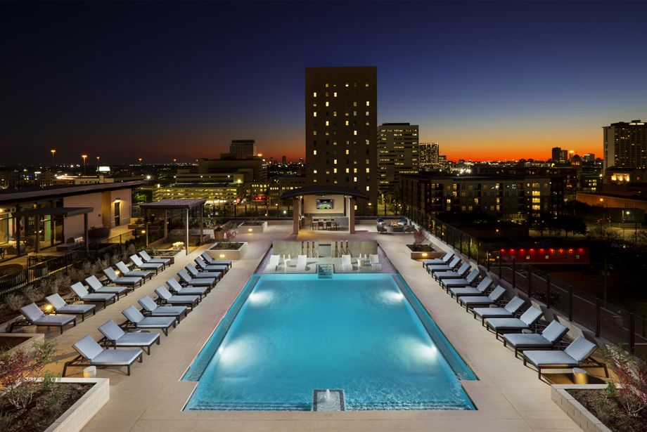 Swimming Pool at dusk at Camden Downtown Houston apartments in Houston, Texas