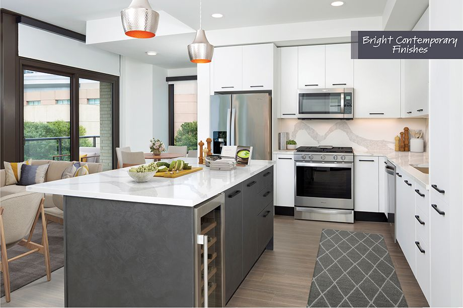 Kitchen in Bright Contemporary Finish Scheme at Camden Downtown Houston Apartments in Houston, Texas
