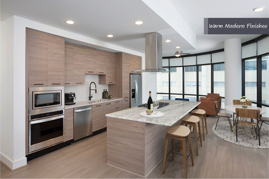 Kitchen and Living Area in Warm Modern Finish Scheme at Camden Downtown Houston Apartments in Houston, Texas