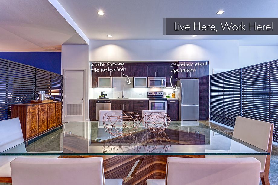 Live Work Apartment with Stainless Steel Appliances and White Subway tile in Kitchen at Camden Glendale Apartments in Glendale, CA