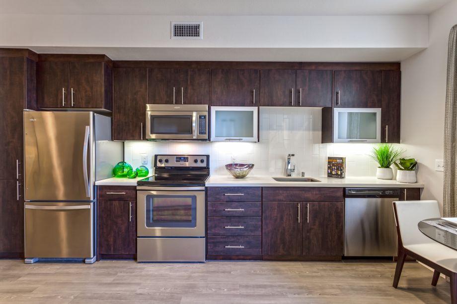 Kitchen in Studio Floor Plan at Camden Glendale Apartments in Glendale, CA