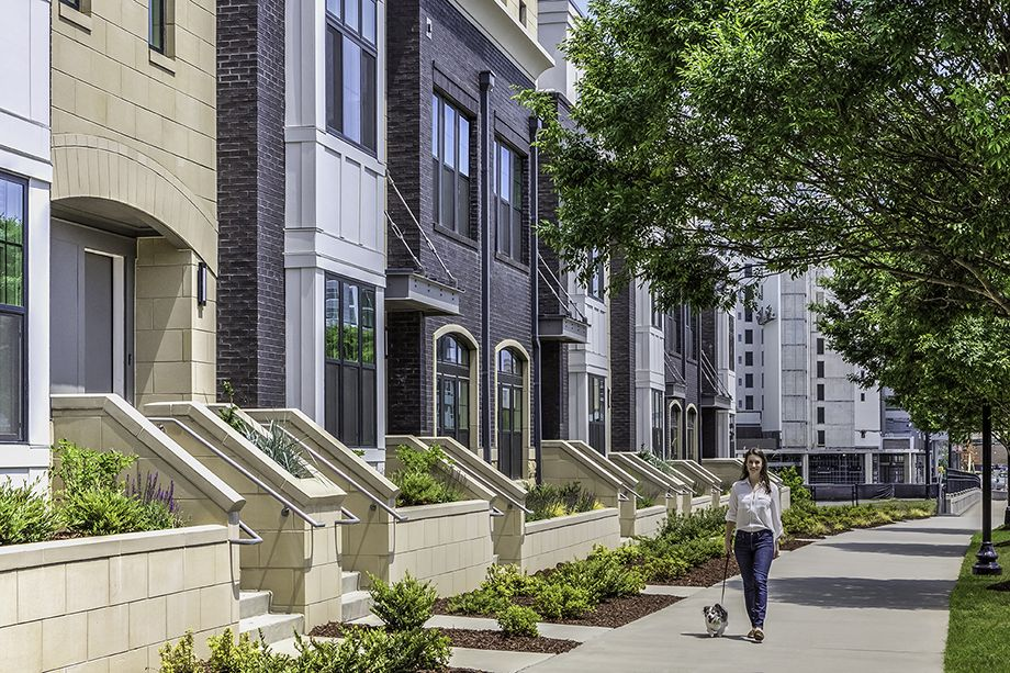 Exterior of Townhomes with Dog at Camden Grandview Townhomes in Charlotte, NC