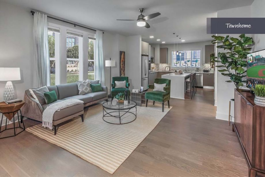 Living Room at Camden Grandview Townhomes in Charlotte, NC