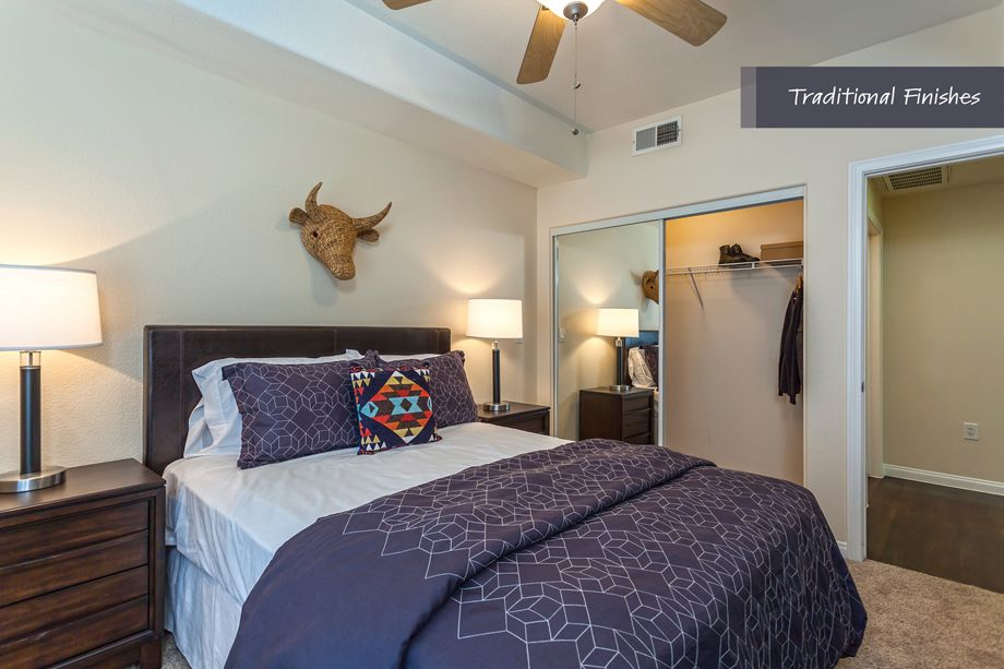 Bedroom with traditional finishes at Camden Harbor View Apartments in Long Beach, CA