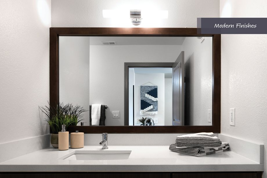 Bathroom with modern finishes at Camden Harbor View Apartments in Long Beach, CA