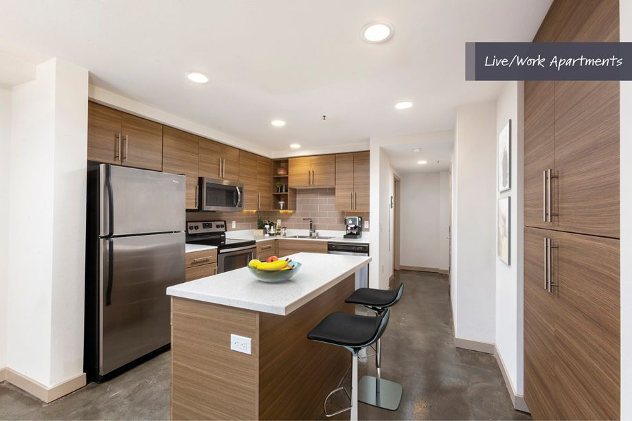 Kitchen at Camden Harbor View Live/Work Apartments in Long Beach, CA
