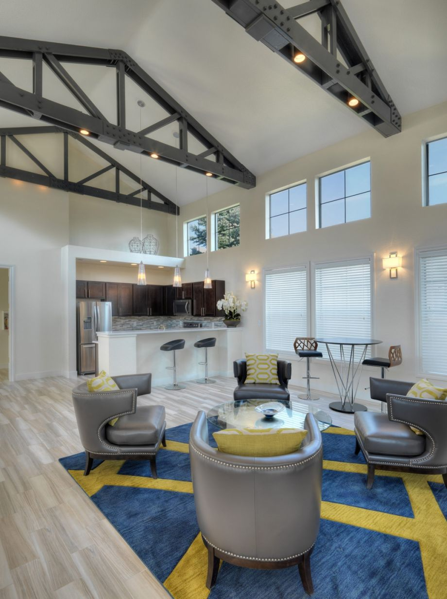 Resident Lounge with Kitchen at Camden Highlands Ridge Apartments in Highlands Ranch, CO
