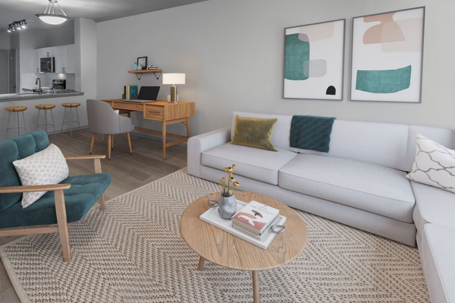 Living Room with Home Office Space at Camden Highlands Ridge Apartments in Highlands Ranch, CO