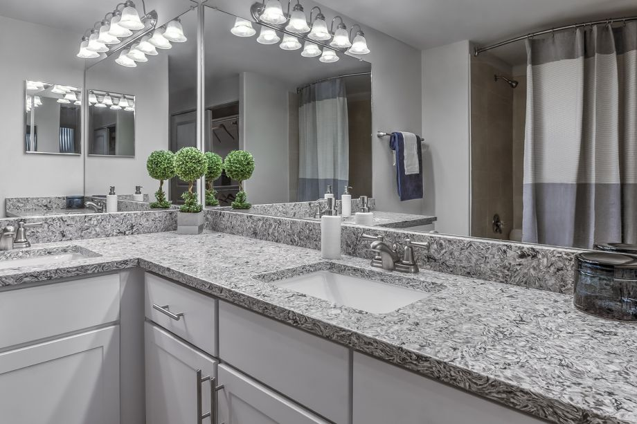 Bathroom with Granite Countertops at Camden Interlocken Apartments in Broomfield, CO