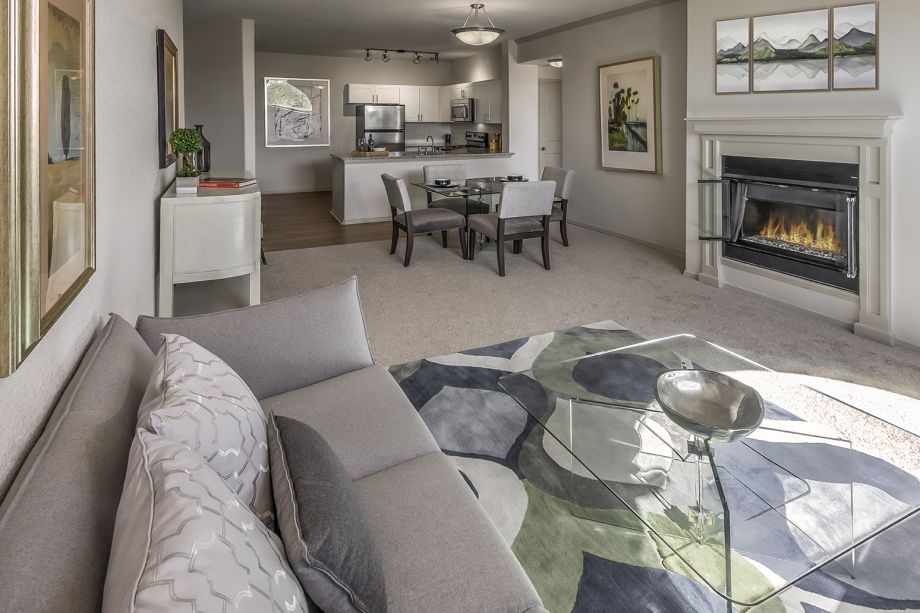 Open-Concept Living Room at at Camden Interlocken Apartments in Broomfield, CO