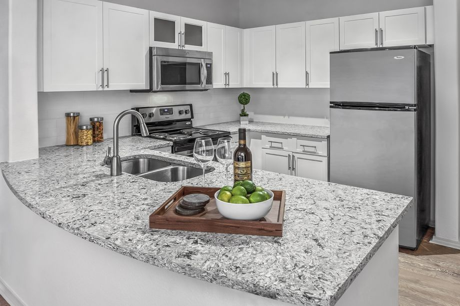 Granite Countertops in Kitchen at Camden Lakeway Apartments in Lakewood, CO