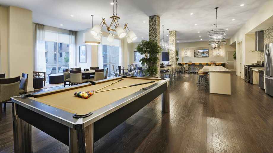 Resident Lounge with Billiards Table at Camden Lincoln Station Apartments in Lone Tree, CO