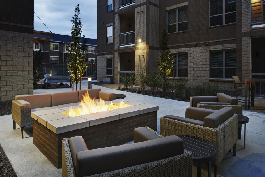 Outdoor Fire Pit Lounge at Camden Lincoln Station Apartments in Lone Tree, CO