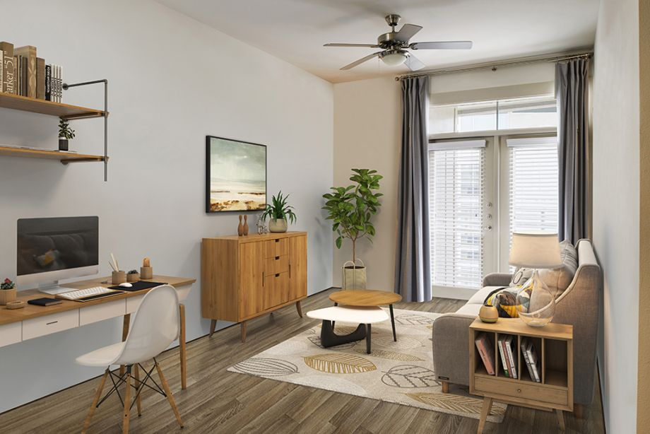 Spacious Living Room and flex office space at Camden Lincoln Station Apartments in Lone Tree, CO