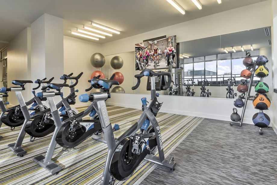 Fitness Center with Spin Bikes at Camden NoMa Apartments in Washington, DC