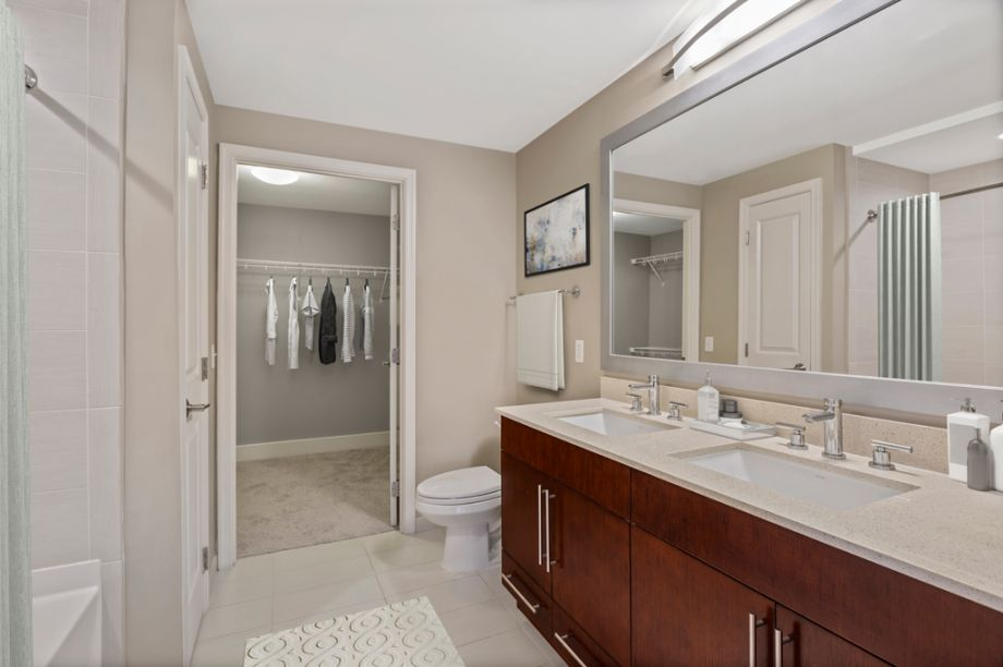 Bathroom with Walk-In Closet at Camden NoMa Apartments in Washington, DC
