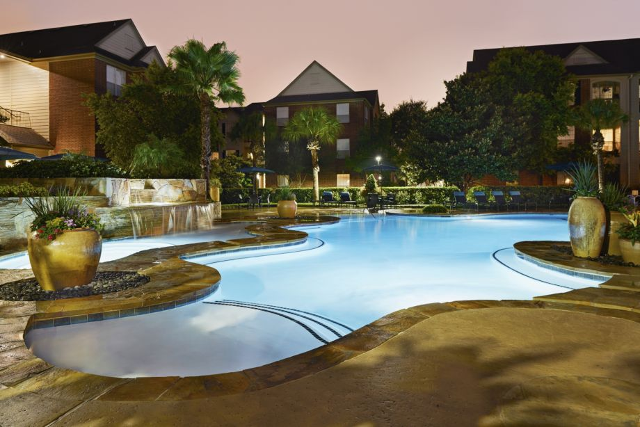 Beach Front Entry Pool with Lap Lane and WiFi at Camden Oak Crest Apartments in Houston, TX