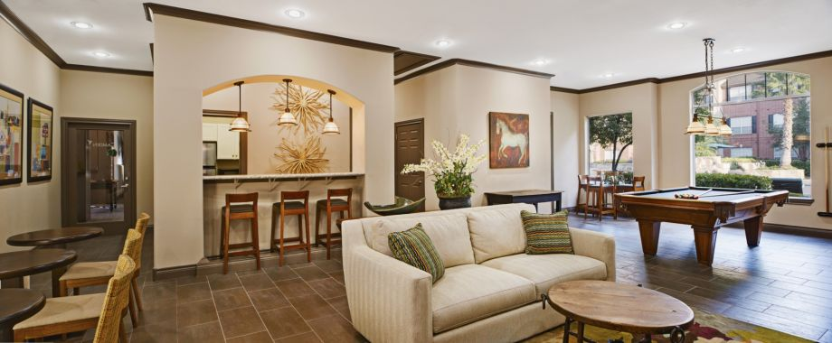 Social Lounge with Billiards and Kitchen at Camden Oak Crest Apartments in Houston, TX