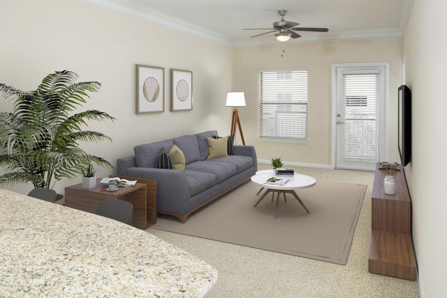 Living Room at Camden Orange Court Apartments in Orlando, FL
