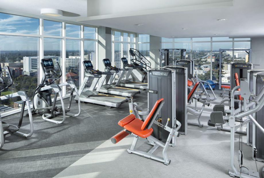 Gym with Cardio at Camden Pier District Apartments in St. Petersburg, FL