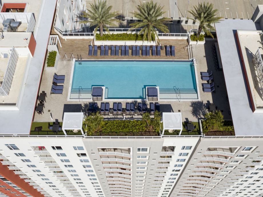 Rooftop Olympic Sized Pool with Lounge Chairs at Camden Pier District Apartments in St. Petersburg, FL