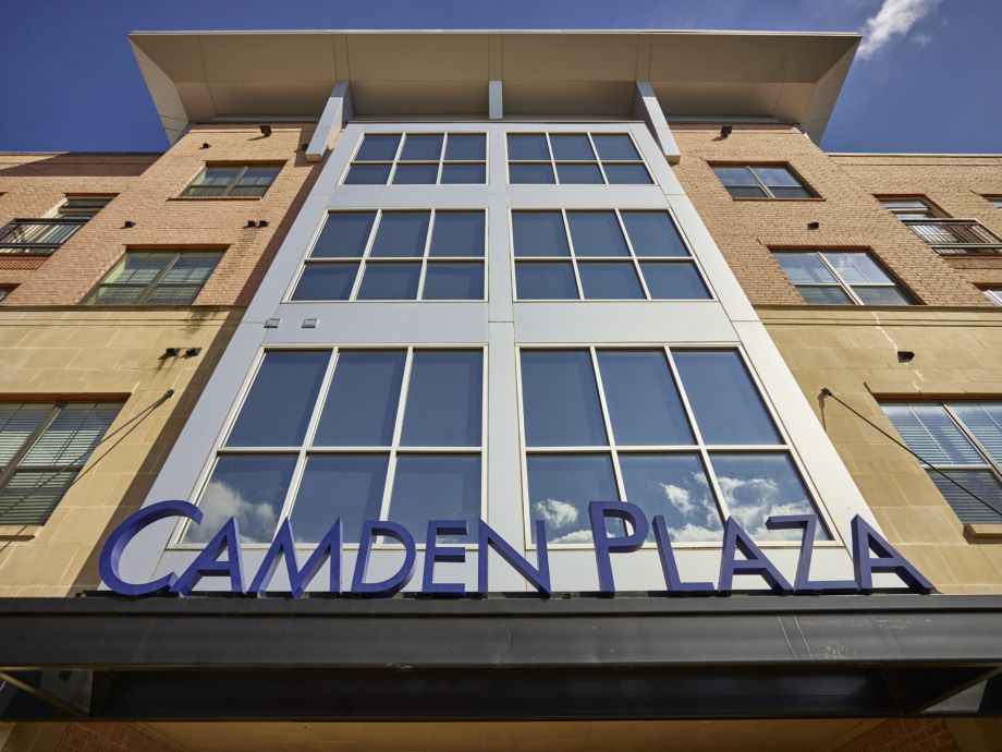 Entrance to Welcome Center at Camden Plaza Apartments in Houston, TX