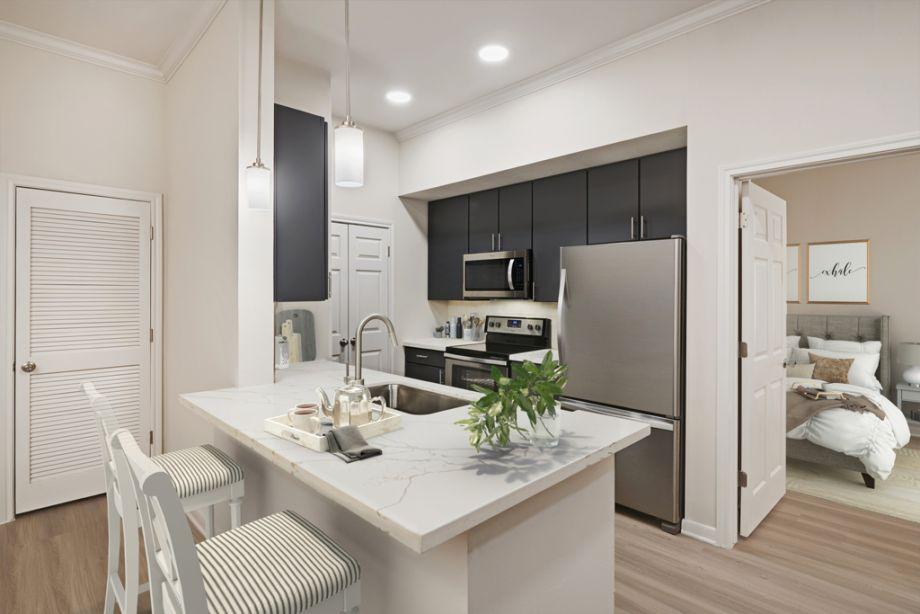 Kitchen at Camden Plaza Apartments in Houston, TX