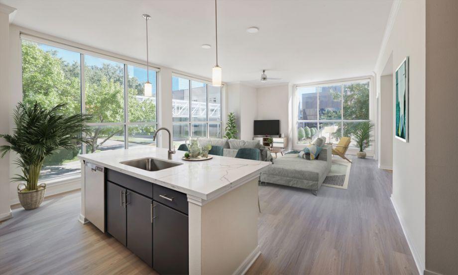 Large Living Room with Floor to Ceiling Windows at Camden Plaza Apartments in Houston, TX