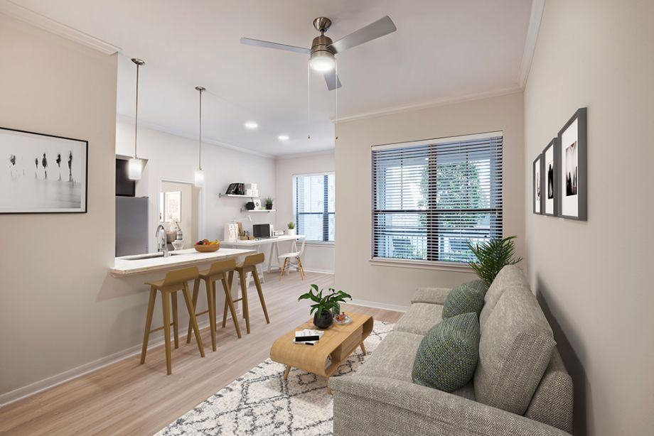Living Room and Office Space at Camden Plaza Apartments in Houston, TX