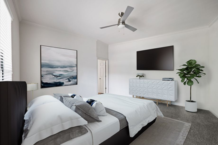 Modern style bedroom at Camden Plaza Apartments in Houston, TX