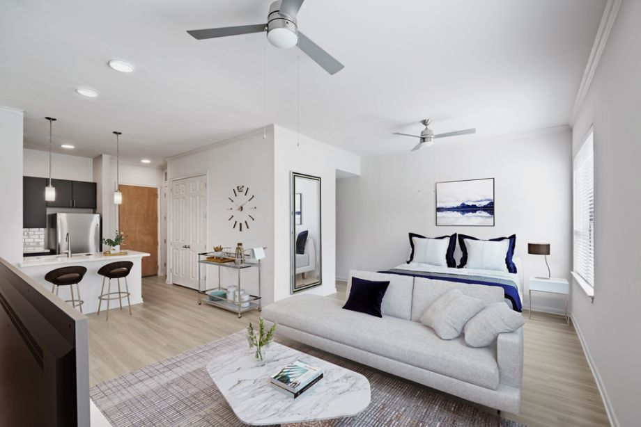 Modern style living room at Camden Plaza Apartments in Houston, TX